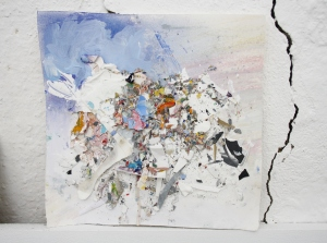 Bits from the studio floor collaged onto paper with pastel and emulsion, April 2013