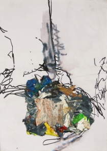 Nightwatch, Pen on paper with dried acrylic paint collaged on top, 2013
