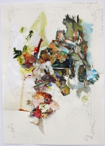 After Gainsborough, A Drawing, Graphite and Oil on Paper with Mixed Media collaged on, 28cm x 21cm, 2014