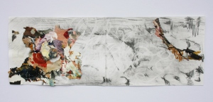 Landscape, Graphite and dried acrylic on paper, 10cm x 29cm, 2013