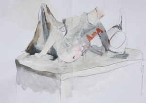 graphite, watercolour and emulsion on paper, 2013