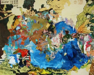 Dried acrylic paint collaged onto Hokusai print, 2013