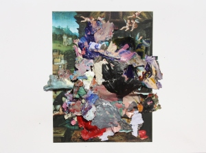 Nee, Dried acrylic paint collaged onto print from an old masters booklet, 2013