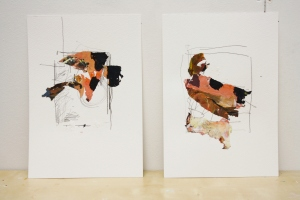Switch, Graphite and Dried Acrylic Paint on 2 pieces of Paper, 2013