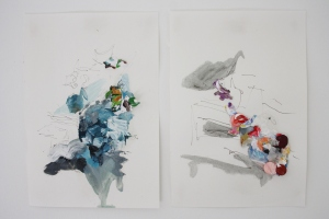 Two, Biro, Oil paint and mixed media on paper, 21cm x 30.5cm, 2014