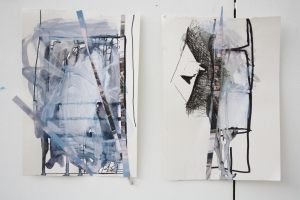 Untitled Drawings (shown together), Pen, emulsion and photograph on paper, 2013