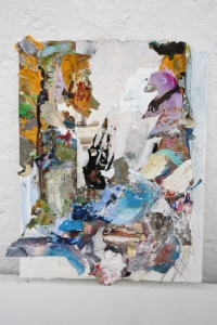 Untitled, Perspex & dried acrylic collaged onto paper, 2013