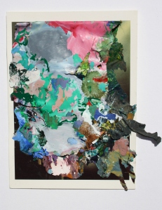 Dried Acrylic paint collaged onto Postcard, 2013