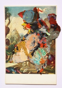 Acrylic paint collaged onto postcard, 2013