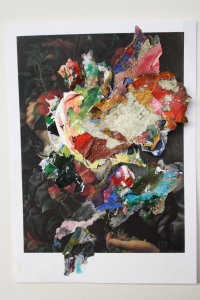 After Watts, Dried acrylic paint and torn paper collaged onto postcard, 2013