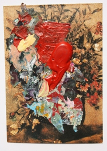 Bloom with Red, Dried acrylic collaged onto postcard, 2013