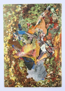 A Walk in Monet's Garden, Dried acrylic paint collaged onto postcard, 2013