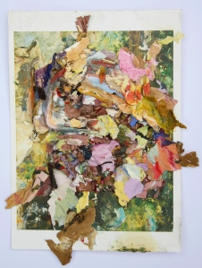 On Black Brook, Dried acrylic paint flakes collaged onto postcard, 2013
