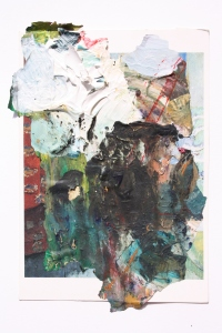 The Pass, Dried acrylic collaged onto postcard, 2013