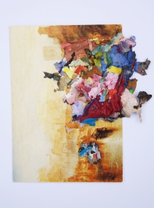 Ancient Rome, Dried acrylic flakes collaged onto postcard, 2013