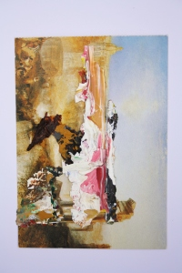 Ruin, Dried acrylic collaged onto postcard, 2013