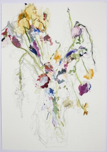 Assortment of Flowers in a Vase, Watercolour, graphite and dried acrylic paint on paper, 2015