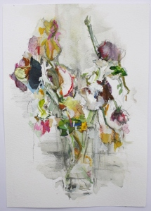 Wild Spray, Graphite, Watercolour, Pencil and dried Acrylic Paint on Paper, 21cm x 15cm, 2015